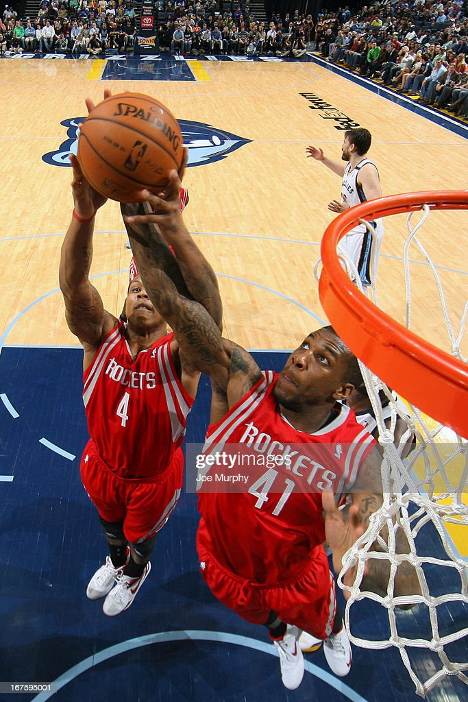 Thomas Robinson #41 of the Houston Rockets grabs a rebound against the Memphis Grizzlies on March 29, 2013 at FedExForum in Memphis, Tennessee.