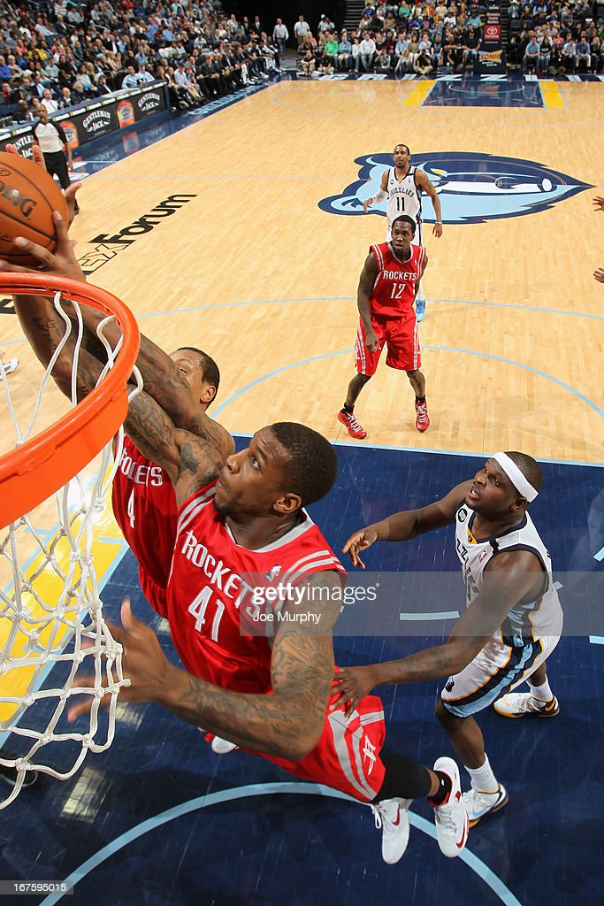 Thomas Robinson #41 of the Houston Rockets reaches for a rebound against the Memphis Grizzlies on March 29, 2013 at FedExForum in Memphis, Tennessee.