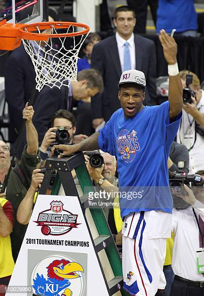 Thomas Robinson of the Kansas Jayhawks celebrates after defeating the Texas Longhorns in the championship game of the 2011 Phillips 66 Big 12 Men's...