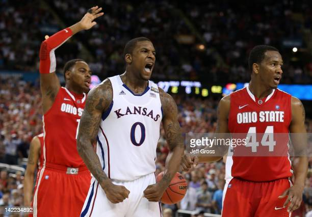 Thomas Robinson of the Kansas Jayhawks reacts in the second half while taking on the Ohio State Buckeyes during the National Semifinal game of the...