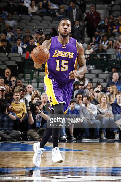 Thomas Robinson of the Los Angeles Lakers brings the ball up court against the Dallas Mavericks on January 22 2017 at the American Airlines Center in...