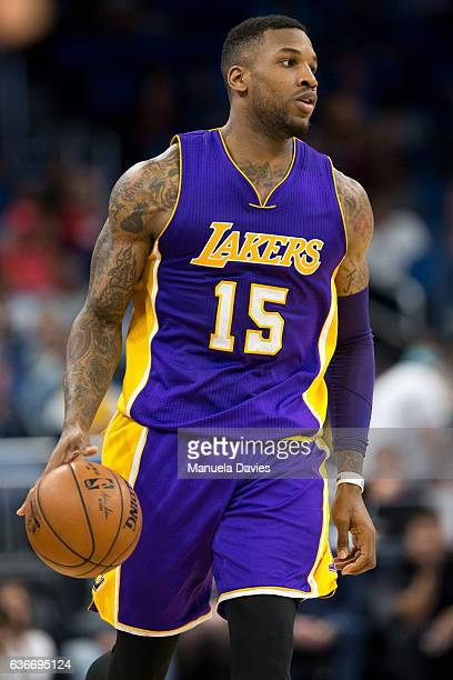 Thomas Robinson of the Los Angeles Lakers dribbles the ball during the game against the Orlando Magic at Amway Center on December 23 2016 in Orlando...