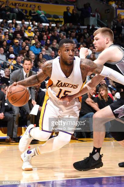 Thomas Robinson of the Los Angeles Lakers drives to the basket during the game against the San Antonio Spurs on February 26 2017 at STAPLES Center in...