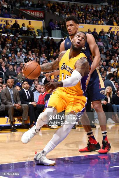 Thomas Robinson of the Los Angeles Lakers drives to the basket during the game against the New Orleans Pelicans on April 11 2017 at STAPLES Center in...