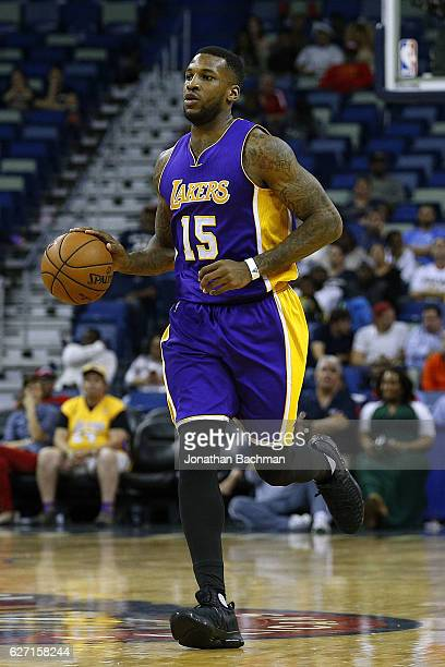 Thomas Robinson of the Los Angeles Lakers drives with the ball during the second half of a game against the New Orleans Pelicans at the Smoothie King...