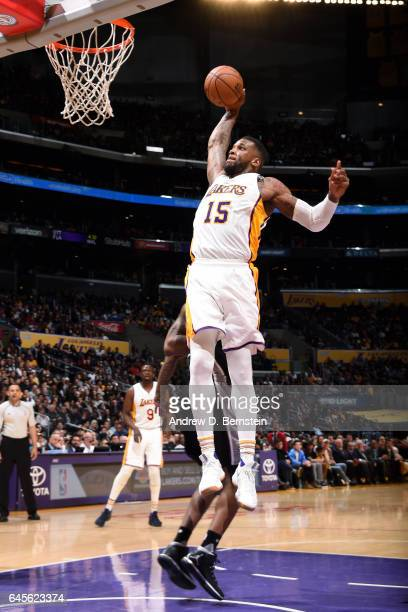 Thomas Robinson of the Los Angeles Lakers goes for a dunk during the game against the San Antonio Spurs on February 26 2017 at STAPLES Center in Los...