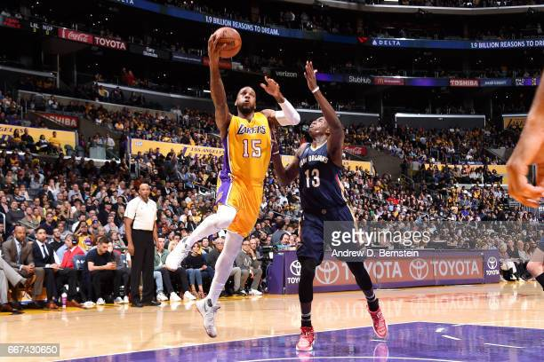 Thomas Robinson of the Los Angeles Lakers goes for a lay up during the game against the New Orleans Pelicans on April 11 2017 at STAPLES Center in...