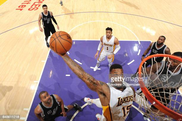 Thomas Robinson of the Los Angeles Lakers goes for the dunk during the game against the San Antonio Spurs on February 26 2017 at STAPLES Center in...