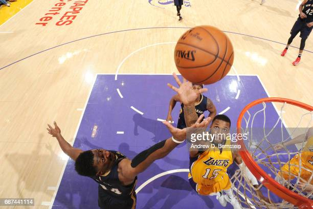 Thomas Robinson of the Los Angeles Lakers goes for the rebound against Solomon Hill of the New Orleans Pelicans on April 11 2017 at STAPLES Center in...