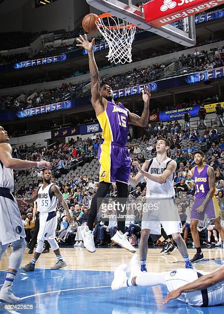 Thomas Robinson of the Los Angeles Lakers goes in for the lay up against the Dallas Mavericks on January 22 2017 at the American Airlines Center in...