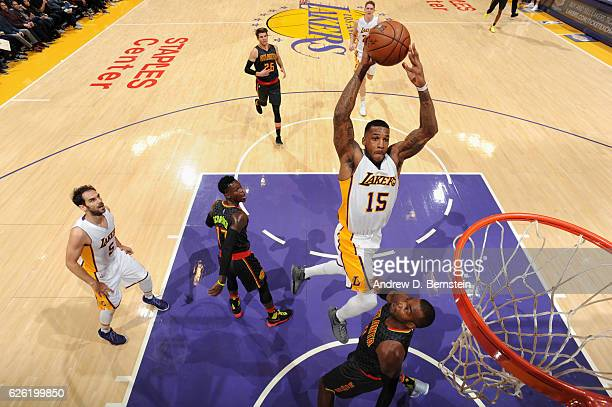 Thomas Robinson of the Los Angeles Lakers goes to the basket against the Atlanta Hawks on November 27 2016 at STAPLES Center in Los Angeles...