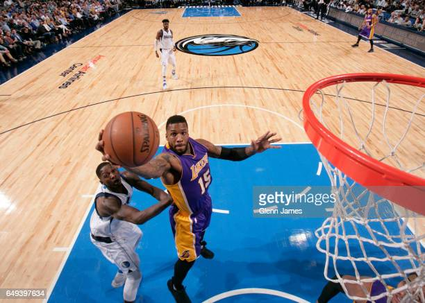 Thomas Robinson of the Los Angeles Lakers goes to the basket against the Dallas Mavericks on March 7 2017 at the American Airlines Center in Dallas...