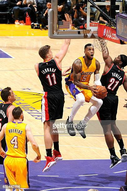 Thomas Robinson of the Los Angeles Lakers goes to the basket during the game against the Portland Trail Blazers on January 10 2017 at STAPLES Center...