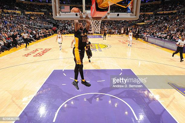 Thomas Robinson of the Los Angeles Lakers goes up for a dunk against the Golden State Warriors on November 25 2016 at STAPLES Center in Los Angeles...