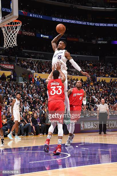 Thomas Robinson of the Los Angeles Lakers goes up for a dunk against the LA Clippers on December 25 2016 at STAPLES Center in Los Angeles California...