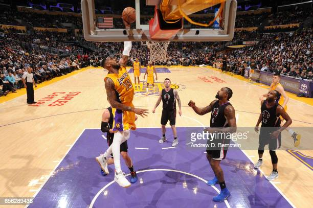Thomas Robinson of the Los Angeles Lakers goes up for a dunk during a game against the LA Clippers on March 21 2017 at STAPLES Center in Los Angeles...