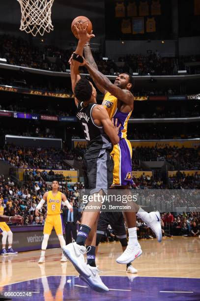 Thomas Robinson of the Los Angeles Lakers goes up for a shot during a game against the Sacramento Kings on April 7 2017 at STAPLES Center in Los...