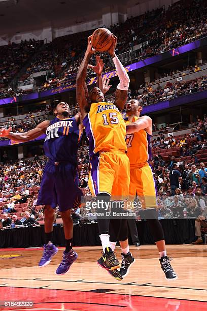 Thomas Robinson of the Los Angeles Lakers grabs the rebound during a preseason game against the Phoenix Suns on October 21 2016 at Honda Center in...
