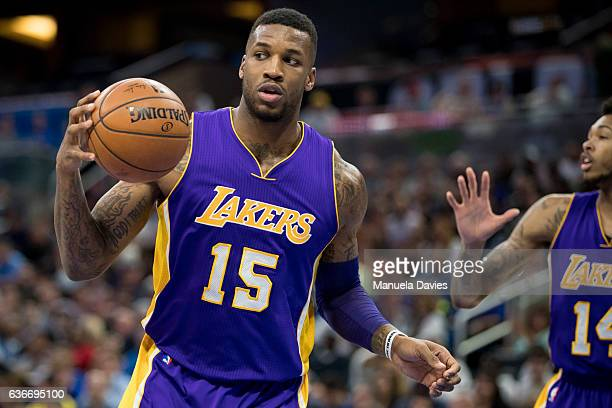Thomas Robinson of the Los Angeles Lakers handles the ball against the Orlando Magic at Amway Center on December 23 2016 in Orlando Florida NOTE TO...