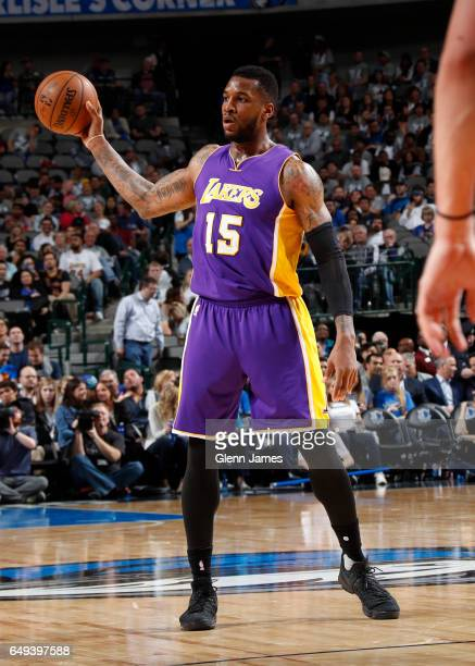 Thomas Robinson of the Los Angeles Lakers handles the ball against the Dallas Mavericks on March 7 2017 at the American Airlines Center in Dallas...