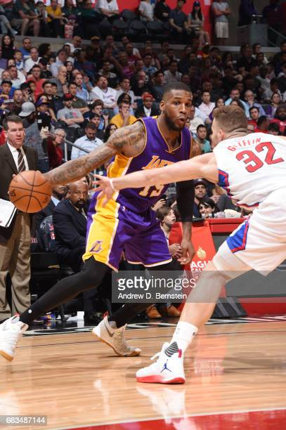 Thomas Robinson of the Los Angeles Lakers handles the ball against the LA Clippers during the game on April 1 2017 at STAPLES Center in Los Angeles...