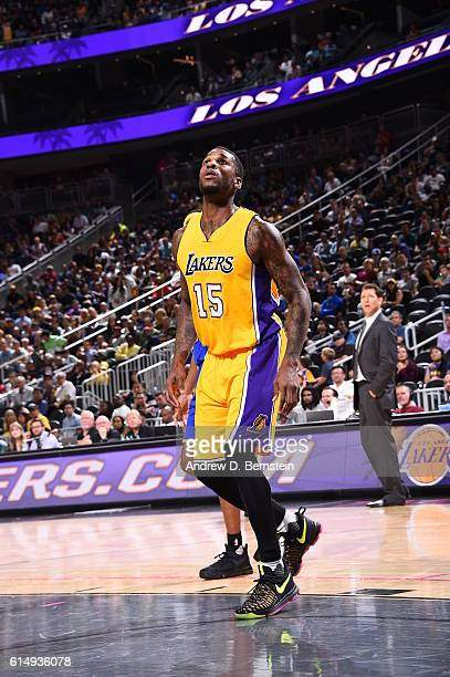 Thomas Robinson of the Los Angeles Lakers looks on against the Golden State Warriors during a preseason game on October 15 2016 at the TMobile Arena...
