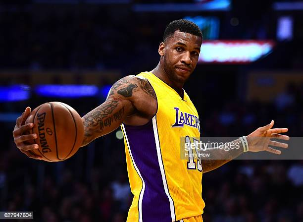 Thomas Robinson of the Los Angeles Lakers reacts to a Laker foul during the second half of a 107101 Utah Jazz win at Staples Center on December 5...