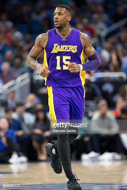 Thomas Robinson of the Los Angeles Lakers runs up court during the game against the Orlando Magic at Amway Center on December 23 2016 in Orlando...