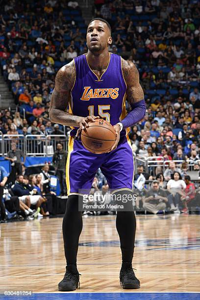 Thomas Robinson of the Los Angeles Lakers shoots a free throw against the Orlando Magic on December 23 2016 at Amway Center in Orlando Florida NOTE...
