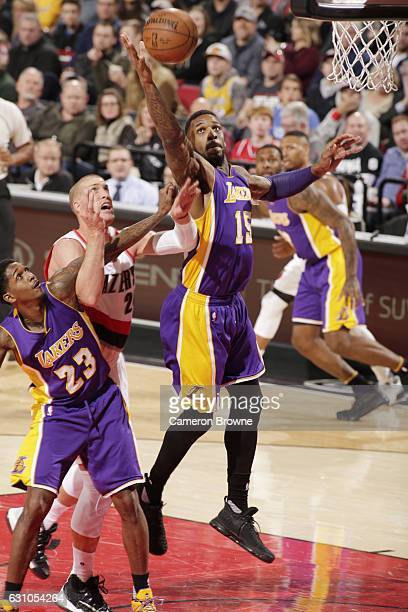 Thomas Robinson of the Los Angeles Lakers shoots the ball against Mason Plumlee of the Portland Trail Blazers during the game on January 5 2017 at...