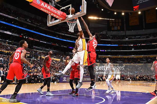 Thomas Robinson of the Los Angeles Lakers shoots the ball against the Toronto Raptors on January 1 2017 at STAPLES Center in Los Angeles California...