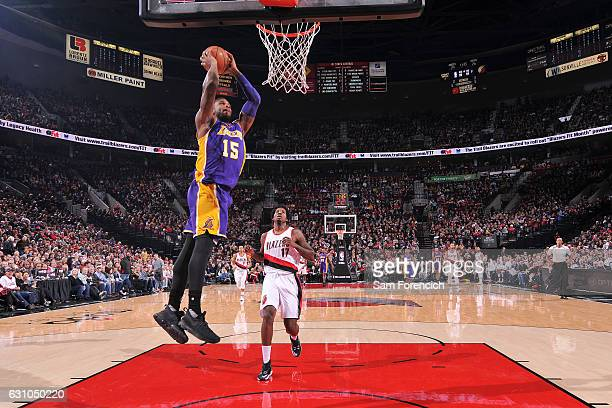 Thomas Robinson of the Los Angeles Lakers shoots the ball against the Portland Trail Blazers during the game on January 5 2017 at the Moda Center in...