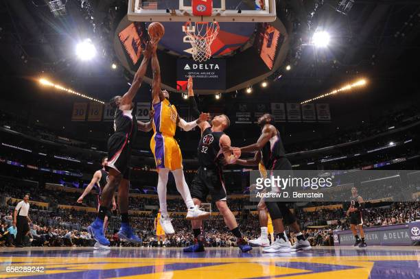Thomas Robinson of the Los Angeles Lakers shoots the ball during a game against the LA Clippers on March 21 2017 at STAPLES Center in Los Angeles...
