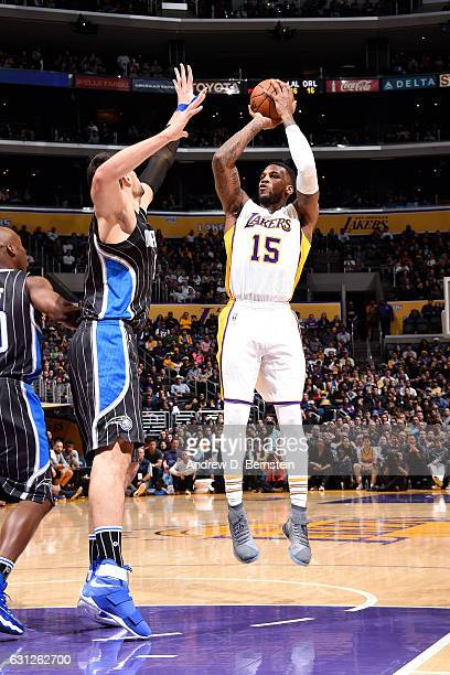 Thomas Robinson of the Los Angeles Lakers shoots the ball during the game against the Orlando Magic on January 8 2017 at STAPLES Center in Los...