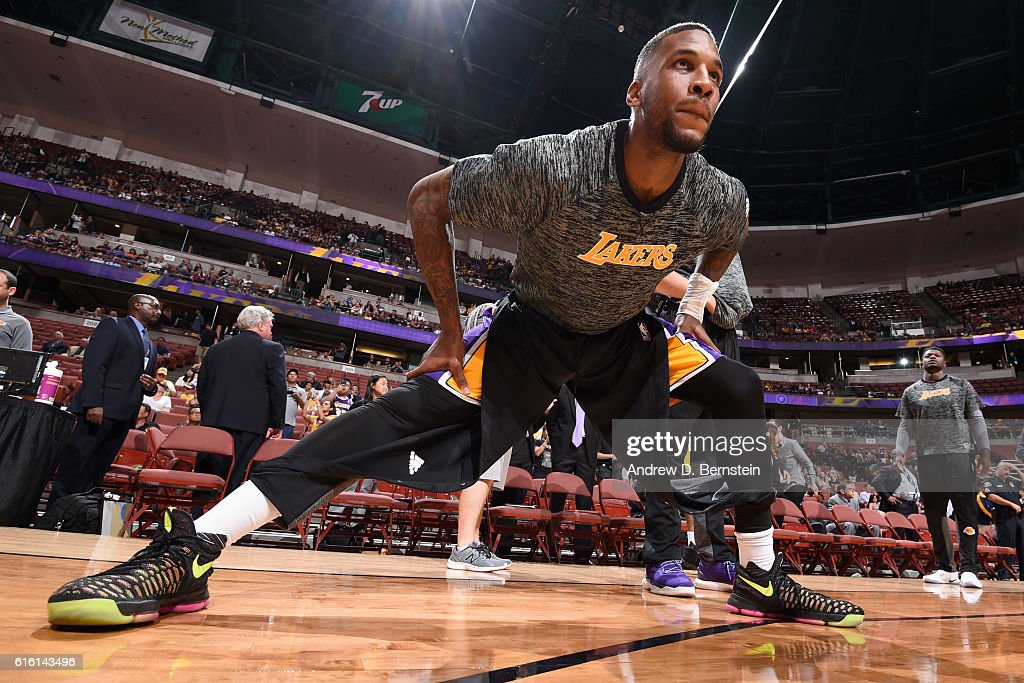 Thomas Robinson #15 of the Los Angeles Lakers stretches before a preseason game against the Phoenix Suns on October 21, 2016 at Honda Center in Anaheim, California.