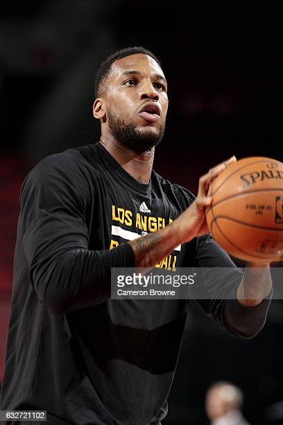 Thomas Robinson of the Los Angeles Lakers warms up before the game against the Portland Trail Blazers on January 25 2017 at the Moda Center in...