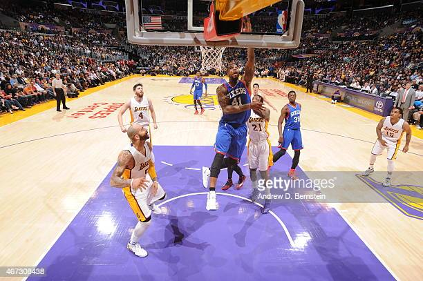 Thomas Robinson of the Philadelphia 76ers goes to the basket against the Los Angeles Lakers on March 22 2015 at Staples Center in Los Angeles...