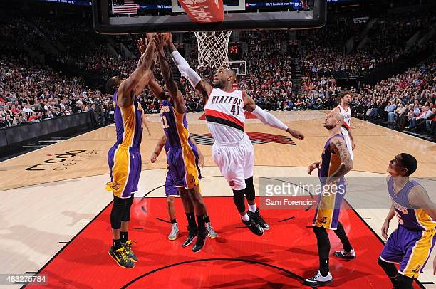 Thomas Robinson of the Portland Trail Blazers grabs a rebound against the Los Angeles Lakers on February 11 2015 at the Moda Center Arena in Portland...