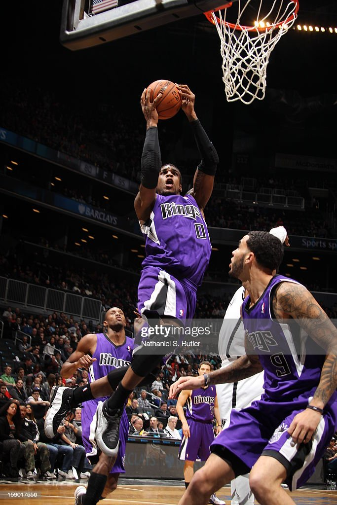 Thomas Robinson #0 of the Sacramento Kings drives to the basket against the Brooklyn Nets on January 5, 2013 at the Barclays Center in the Brooklyn borough of New York City.