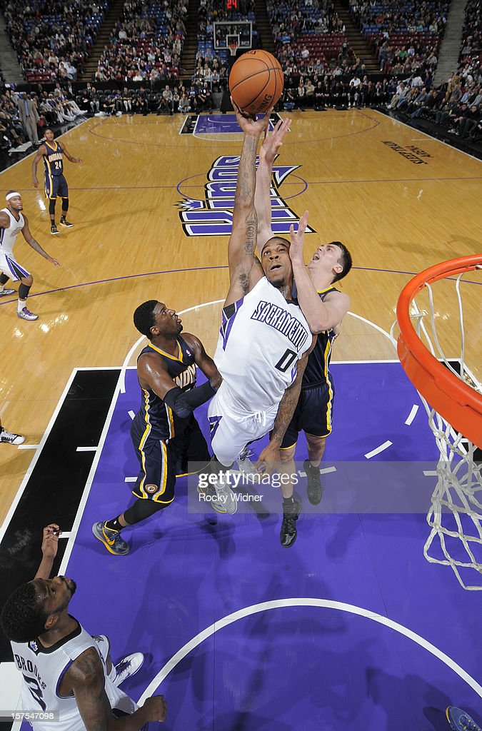 Thomas Robinson #0 of the Sacramento Kings grabs the rebound away from Tyler Hansbrough #50 of the Indiana Pacers on November 30, 2012 at Sleep Train Arena in Sacramento, California.