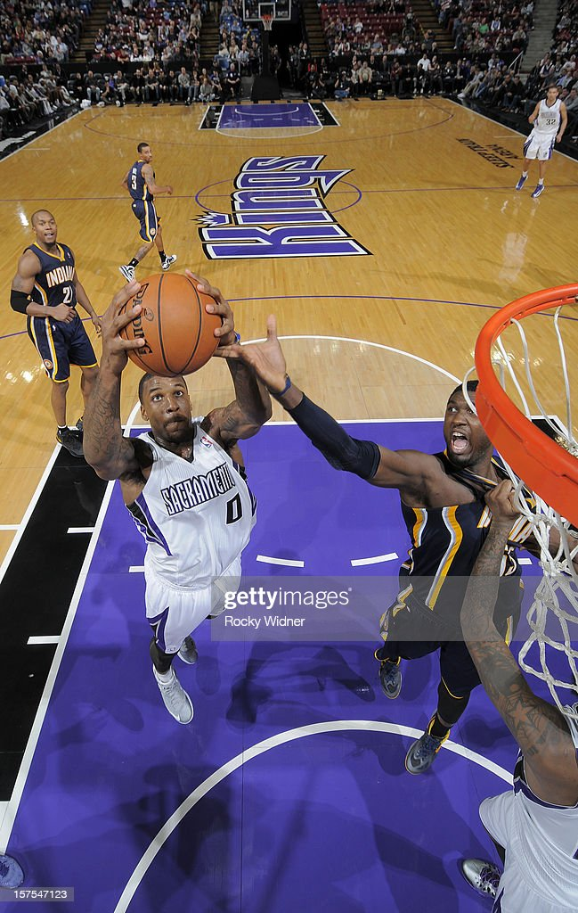 Thomas Robinson #0 of the Sacramento Kings grabs the rebound away from Roy Hibbert #55 of the Indiana Pacers on November 30, 2012 at Sleep Train Arena in Sacramento, California.