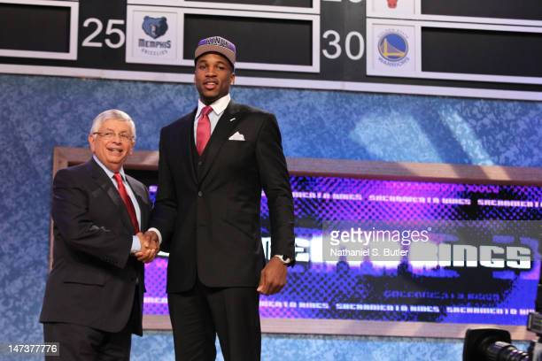 Thomas Robinson shakes hands with NBA Commissioner David Stern after being selected number five overall by the Sacramento Kings during the 2012 NBA...