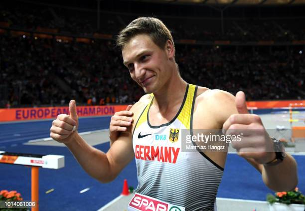 Thomas Roehler of Germany celebrates winning Gold in the Men's Javelin Throw Final during day three of the 24th European Athletics Championships at...