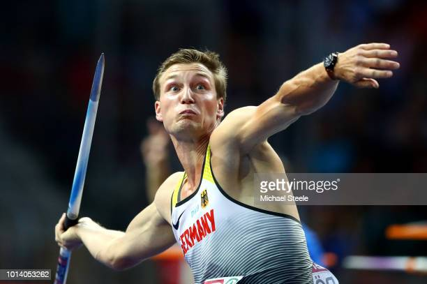 Thomas Roehler of Germany competes in the Men's Javelin Final during day three of the 24th European Athletics Championships at Olympiastadion on...