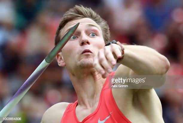 Thomas Roehler of LC Jena competes in the men's javelin throw final during day 3 of the German Athletics Championships at Max-Morlock-Stadion on July...