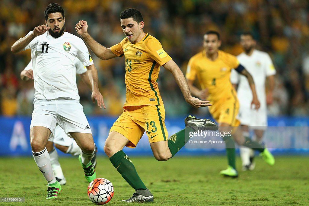 Thomas Rogic of Australia scores a goal during the 2018 FIFA World Cup Qualification match between the Australian Socceroos and Jordan at Allianz Stadium on March 29, 2016 in Sydney, Australia.