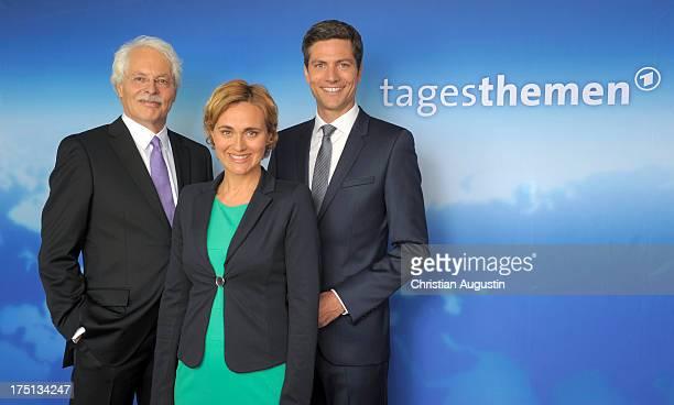 Thomas Roth Caren Miosga and Ingo Zamperoni attends photocall presents new Tagesthemen anchorman Thomas Roth at Le Royal Meridien Hamburg on August 1...