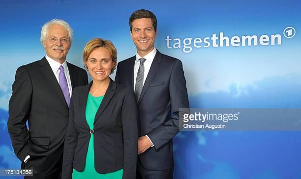 Thomas Roth Caren Miosga and Ingo Zamperoni attends photocall presents new 'Tagesthemen' anchorman Thomas Roth at Le Royal Meridien Hamburg on August...