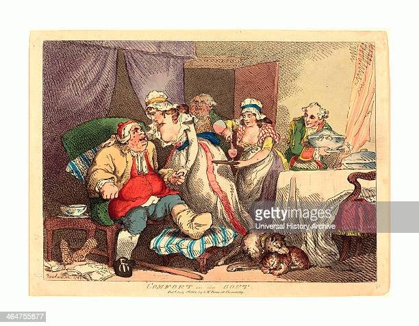 Thomas Rowlandson Comfort In The Gout Handcolored Etching Rosenwald Collection