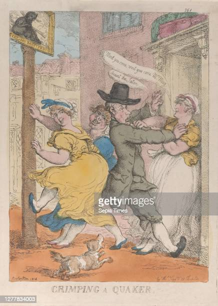 Thomas Rowlandson, Crimping a Quaker, Thomas Rowlandson , March 1 Hand-colored etching, Sheet: 13 3/4 × 9 15/16 in. , Prints.